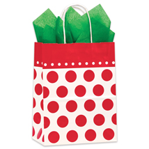 Red Cheery Dot Gift Bags - 100 per carton