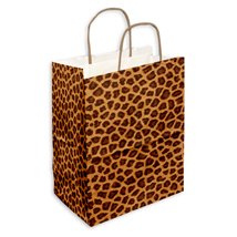 Leopard Print Shopping Bags - 8 in. x 4.75 in. x 10.5 in.