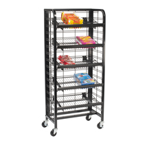 "24"" Floor Standing Metal Mobile Display With 5 Shelves"