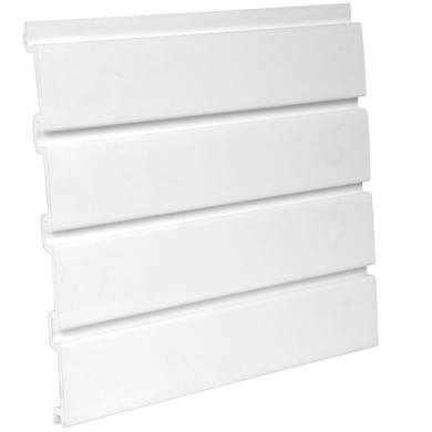 White 4 Ft x 4 Ft Framed Plastic Slatwall Kit