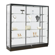 Black Frame Led Spotlight Glass Display Case - Assembled Showcase