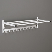 Wall-mounted Coat Rack with Shelf and Hook Strip,