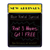 Lighted Blackboard With Header Sign - New Releases