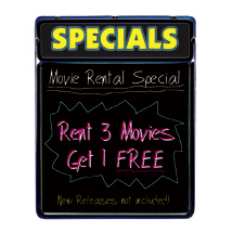 Lighted Blackboard With Header Sign - Specials (Yellow)