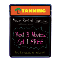 Lighted Blackboard With Header Sign - Tanning