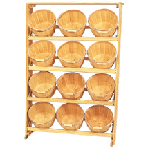 Wood Basket Display With 12 - 1 Peck Baskets