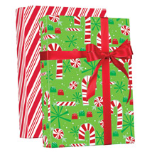 CANDY Cane Reversible Gift Wrap Jumbo Roll