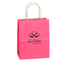 Custom Printed Paper Shopping Bags - Pink