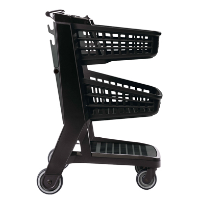 Black All Plastic Convenience Size Grocery Shopping Cart
