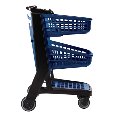 Blue All Plastic Convenience Size Grocery Shopping Cart