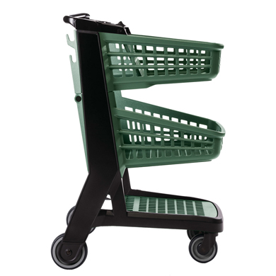 Green All Plastic Convenience Size Grocery Shopping Cart