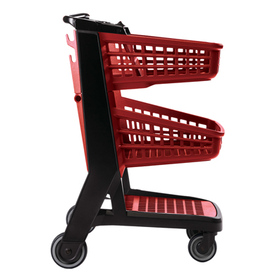 Red All Plastic Convenience Size Grocery Shopping Cart