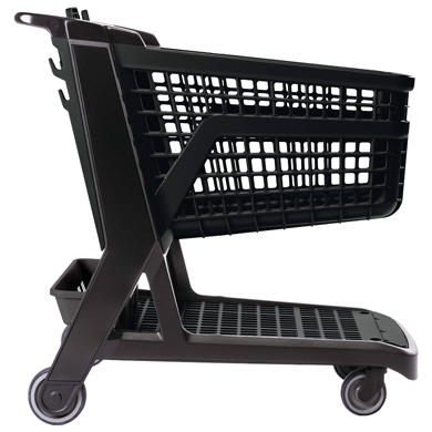 Black All Plastic Full Size Grocery Shopping Cart