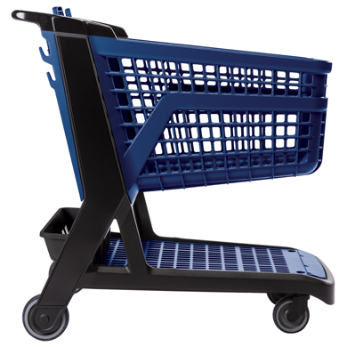 Blue All Plastic Full Size Grocery Shopping Cart
