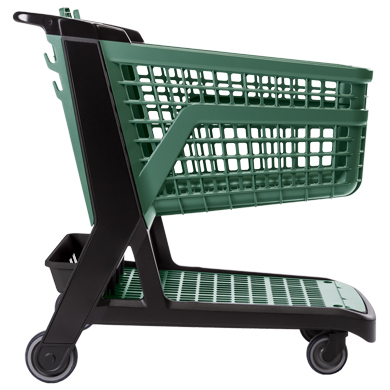 Green All Plastic Full Size Grocery Shopping Cart