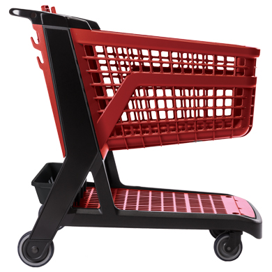 Red All Plastic Full Size Grocery Shopping Cart