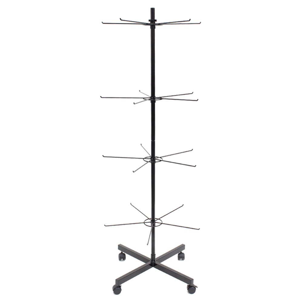 Black 4 Tier Peg Spinner With Casters