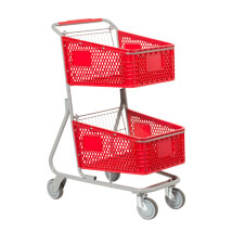 Double Basket Convenience Shopping Cart - Red Plastic