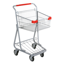 Single Basket Wire Convenience Shopping Cart - Gray