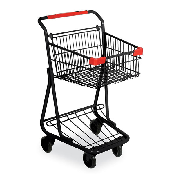 Single Basket Wire Convenience Shopping Cart - Black