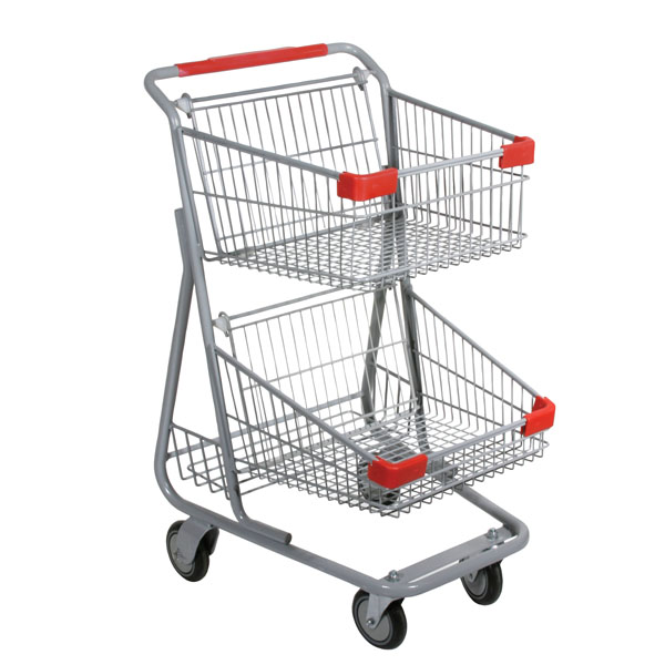 Double Basket Wire Convenience Shopping Cart - Gray