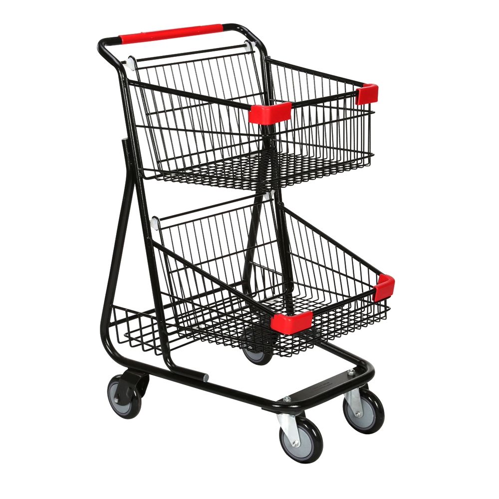 Double Basket Wire Convenience Shopping Cart - Black