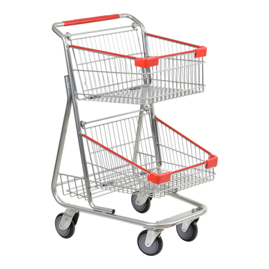 Double Basket Wire Convenience Shopping Cart - Silver