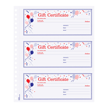 Gift Certificate Book With Balloon Screened Background