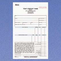 Rental Agreement Form 5-2/3'' x 8-1/2'' 3 PART