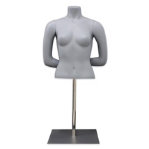 Fiberglass Half Body Female Mannequin - Pewter
