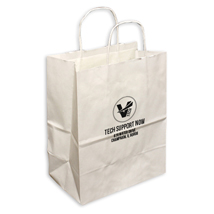 Medium Custom Printed White Shopping Bags