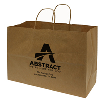 Large Custom Printed Kraft Shopping Bags