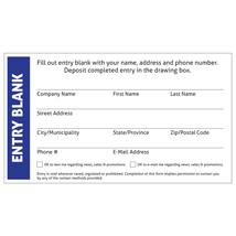 Custom Entry Blank Cards - 1000 per carton