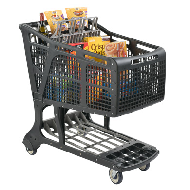 Eco-Friendly Recycled Plastic Shopping Carts - Black + Gray