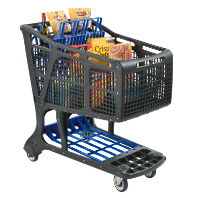 Eco-Friendly Recycled Plastic Shopping Carts - Black + Navy Blue