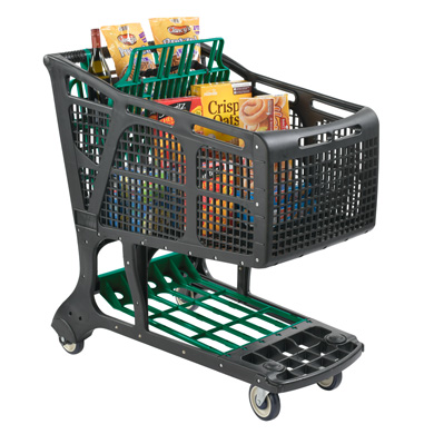 Eco-Friendly Recycled Plastic Shopping Carts - Black + Green
