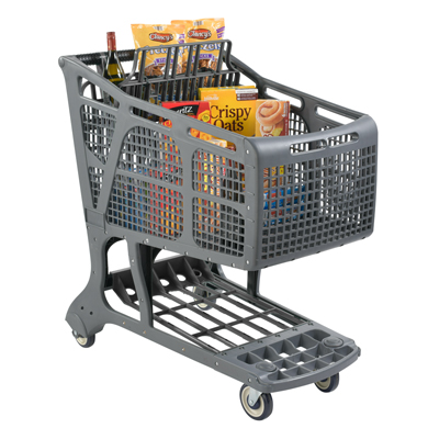 Eco-Friendly Recyclable Plastic Shopping Carts - Gray