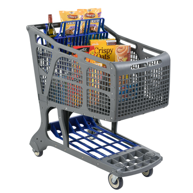Eco-Friendly Recyclable Plastic Shopping Carts - Gray + Navy Blue