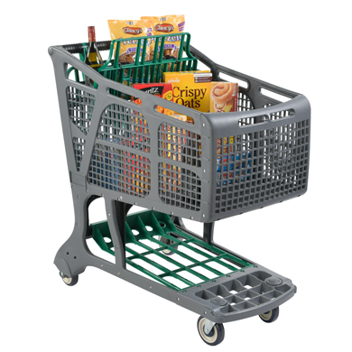 Eco-Friendly Recyclable Plastic Shopping Carts - Gray + Green