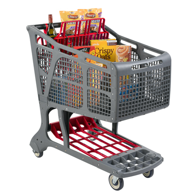 Eco-Friendly Recyclable Plastic Shopping Carts - Gray + Red