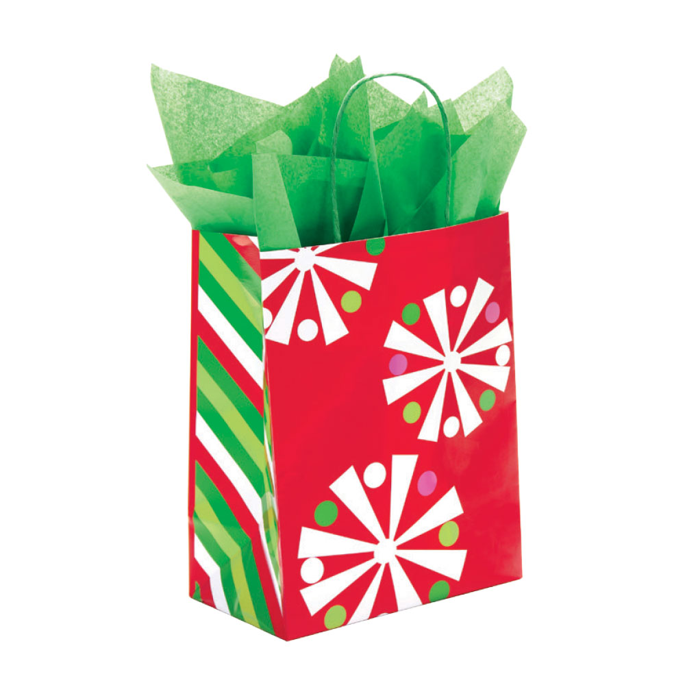 Candy Cane Snowflake Holiday Paper Shopping Bags - 100 Per Carton
