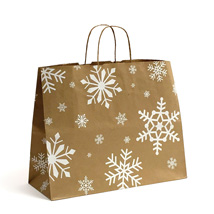 Snowflake Kraft Paper Holiday Shopping Bags