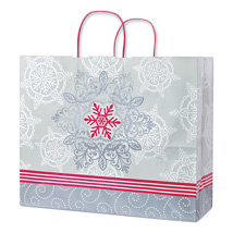 Silver Lace Snowflake Paper Shopping Bags