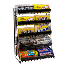 5 Tier Candy Counter Display Rack with Sign Channels