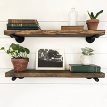 Urban Industrial Pipe Shelf With Reclaimed Wood
