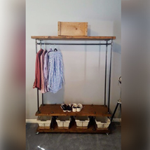48 In Rolling Double Shelf Garment Rack