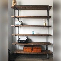 60 In. Industrial Pipe Shelving Unit With 5 Wood Shelves