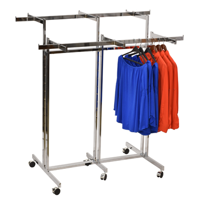 2-In-1 Double Rail Garment Rack And 6-Way Rack With Casters