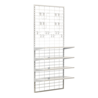 White Slatgrid Gondola Endcap Display With Shelves And Accessories