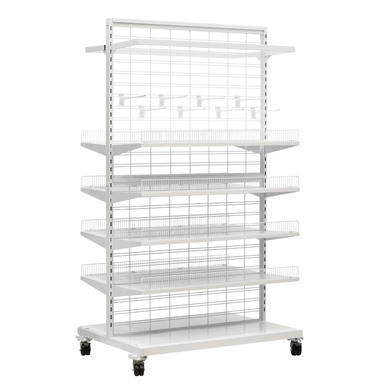 White Slatgrid Gondola Starter Display With Shelves And Accessories